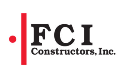 FCI Construction, Inc logo displays the FCI letters large in black with the words Construction, Inc. smaller below it and a red thick line to the left of the text with a small red circle to the left of the red line.