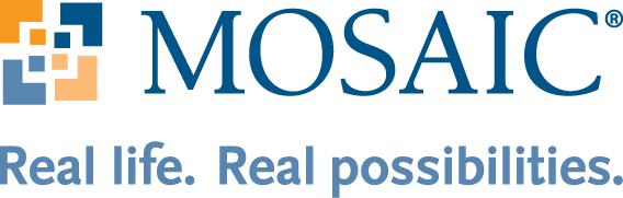 Mosaic's full-color logo with tagline. The word Mosaic is in shown in blue, all-caps font. The Mosaic icon, featuring squares of orange, yellow, dark blue and light blue coming together to create a mosaic tile, is left aligned. Mosaic's tagline, Real life. Real possibilities. is centered below.